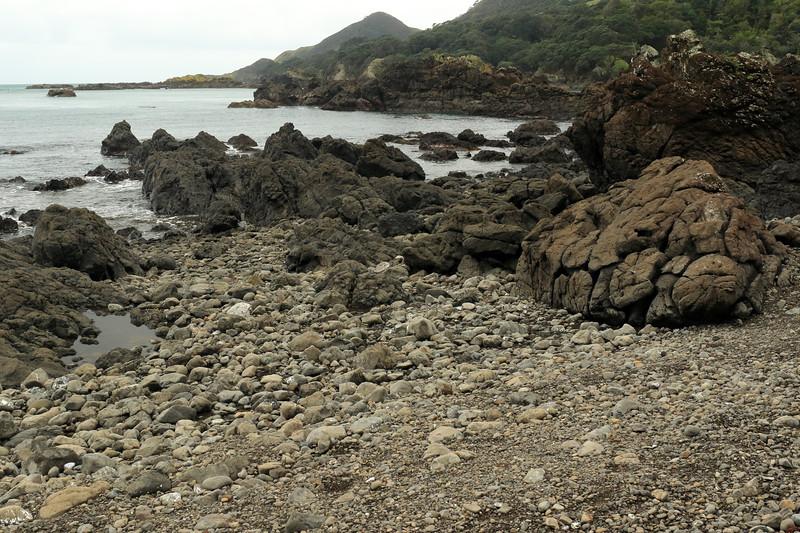 Late-ebb tide along the volcanic basalt rock shoreline of the Mangaroa Range - beyond to the islets of Tohora pirau - and distal the peak rising up to around 472 ft (144 m) above Lottin Point (Wakatiri), the northernmost point of the Raukumara Peninsula - Gisborne (East Cape) region.