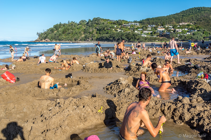 Hot Water beach near Hahei. At low tide people dig pools in the sand where warm water comes to the surface and fills the pools!
