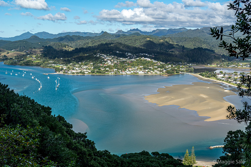 The view from the hill behind our B&B in Tairua on the east coast of Coromandel.
