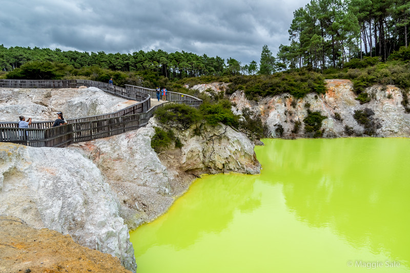 The acid green pool at Wai O Tapu. This was its colour, no enhancing in post processing!