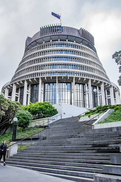 Parliament building known as the Beehive