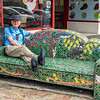 Mosaic couch in Kawakawa - not for lounging on!