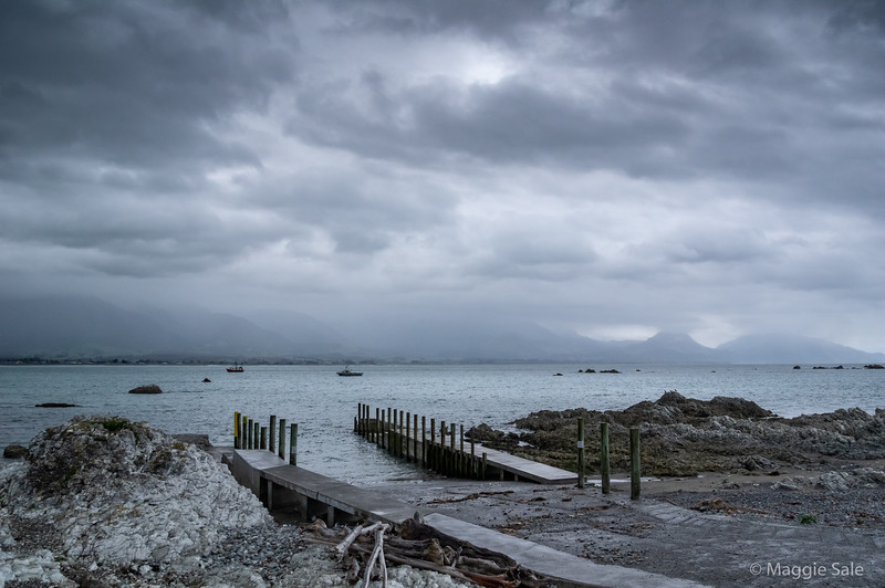 Looking across Kaikoura Bay. High mountain range obscured by the weather!