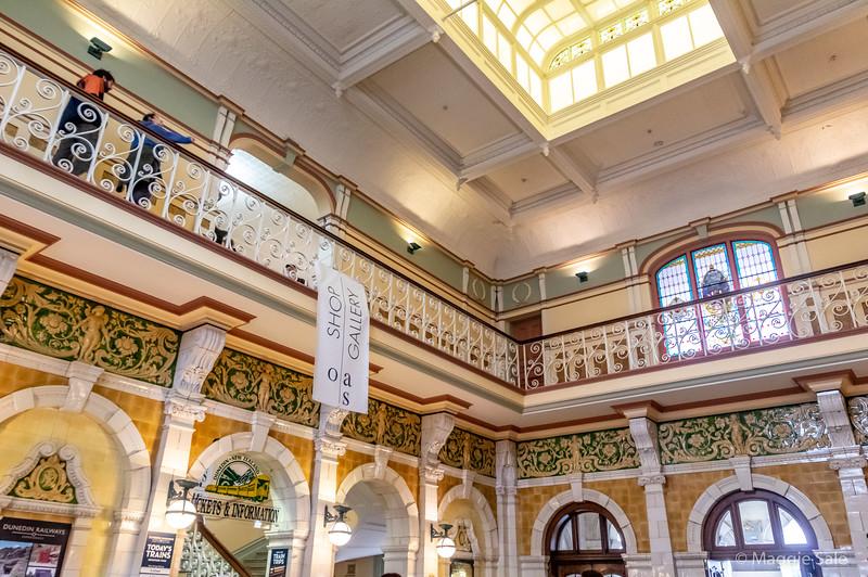 The ornate Victorian railway station in Dunedin