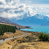 Lake Pukaki with Mount Cook emerging from the clouds.