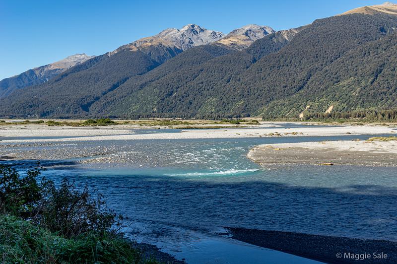 Haast River as it nears the Tasman Sea on the west coast