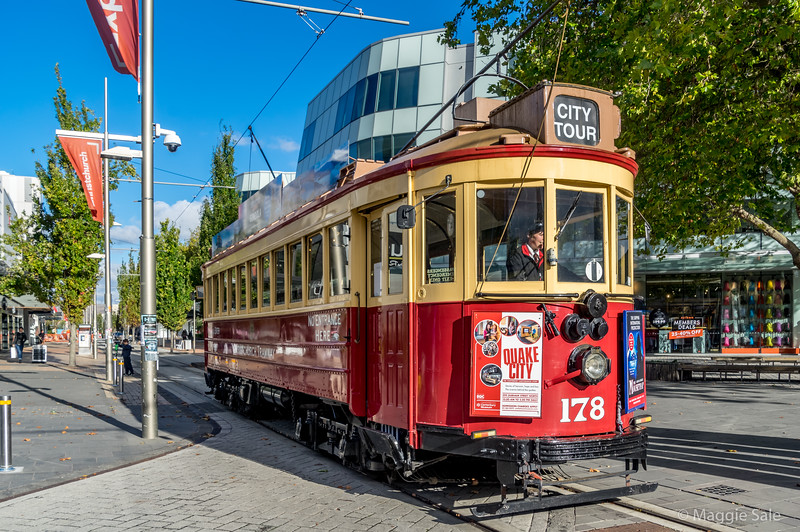 The tour tram along the main street which has mostly be reconstructed. There are still many condemned buildings and empty lots (used for parking) so the city is far from being reconstructed.