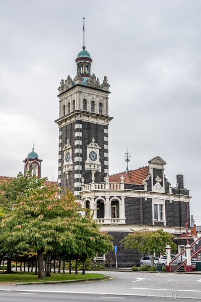 The ornate Victorian railway station in Dunedin