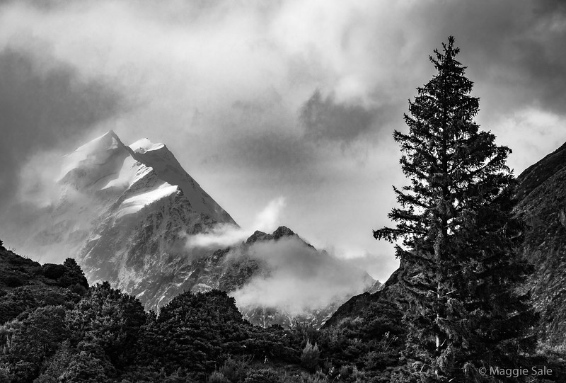 Mount Cook. We were very lucky to see the top of this mountain. The ever changing clouds were wonderful.