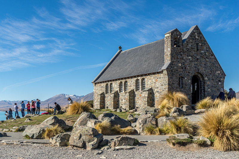 The Church of the Good Shepherd on the shores of Lake Tekapo just outside the town of Tekapo. We were there to see the night sky at the Dark Sky Reserve just outside the town and close by, Mount Cook NP.