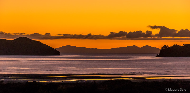 Sunrise view from our balcony, Abel Tasman NP.