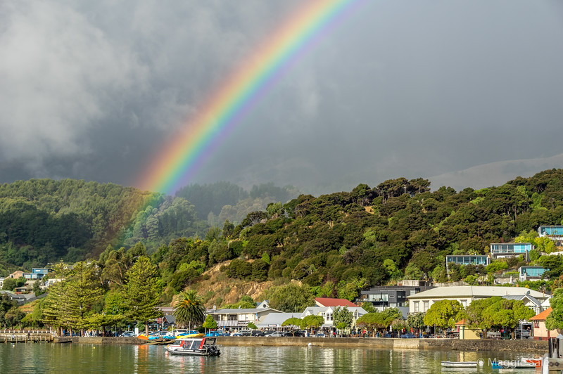 After the latest rain shower in Akaroa from the tour boat pier.