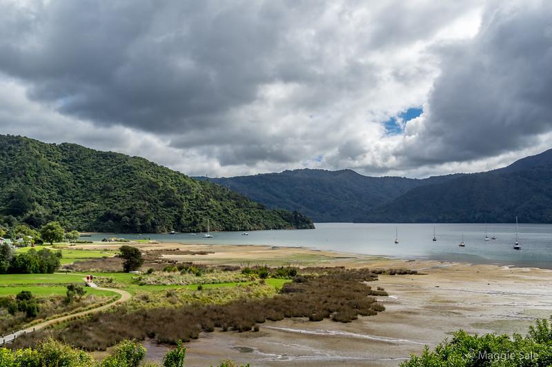 Scenic route along the north coast heading west towards Abel Tasman NP.