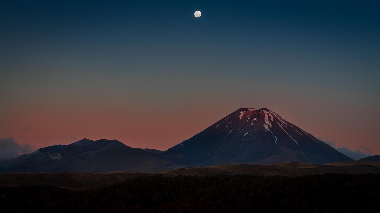 Moonrise over Mount Doom