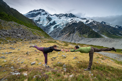 Balancing Stick Pose at Mount Sefton | Aoraki / Mount Cook, New Zealand