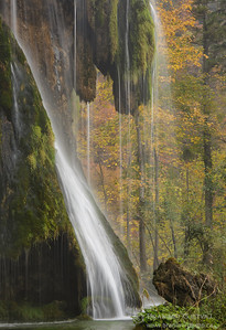 Detail of a waterfall in autumn. Plitvice Lakes National Park, Croatia