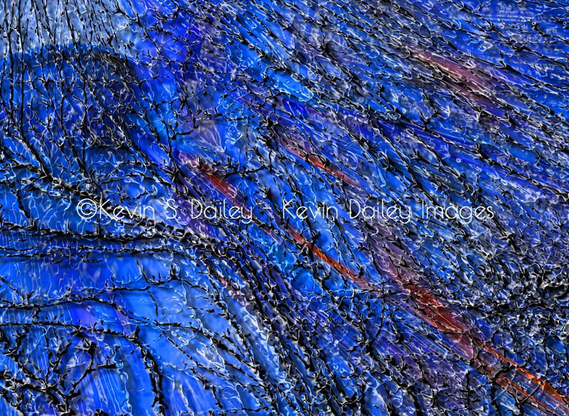 "Zoomed in view of the ""Borealis Racines"" piece above to show the intricacies of the image, but done in a blue hue to show the ability to custom tailor an image to the client's decor or tastes."