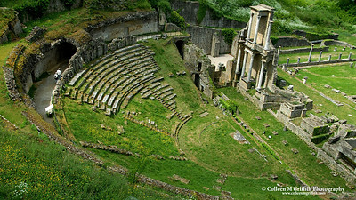 Ruins of a Roman Theater in Volterra, Italy © 2004 Colleen M. Griffith. All Rights Reserved.  This material may not be published, broadcast, modified, or redistributed without written agreement with the creator.  This image is registered with the US Copyright Office.   www.colleenmgriffith.com www.facebook.com/colleen.griffith