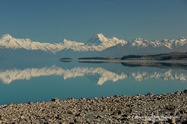 © 2007 Colleen M. Griffith. All Rights Reserved.  This material may not be published, broadcast, modified, or redistributed in any way without written agreement with the creator.  This image is registered with the US Copyright Office.<br /> Mt. Cook and Lake Pukaki, New Zealand