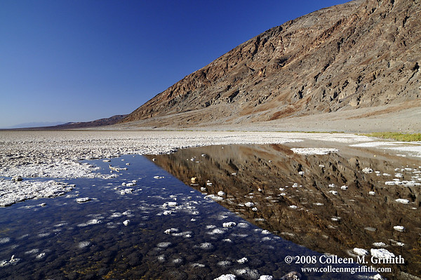 "Badwater Basin In Death Valley <br /> © 2008 Colleen M. Griffith. All Rights Reserved.  This material may not be published, broadcast, modified, or redistributed in any way without written agreement with the creator.  This image is registered with the US Copyright Office.<br />  <a href=""http://www.colleenmgriffith.com"">http://www.colleenmgriffith.com</a><br />  <a href=""http://www.facebook.com/colleen.griffith"">http://www.facebook.com/colleen.griffith</a>"