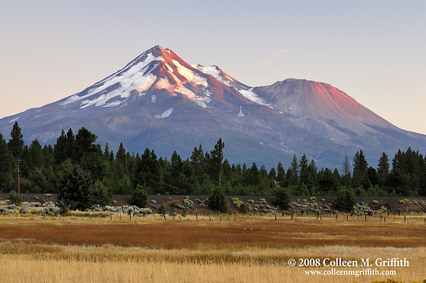 "Mount Shasta At Sunset<br /> © 2008 Colleen M. Griffith. All Rights Reserved.  This material may not be published, broadcast, modified, or redistributed in any way without written agreement with the creator.  This image is registered with the US Copyright Office.<br />  <a href=""http://www.colleenmgriffith.com"">http://www.colleenmgriffith.com</a><br />  <a href=""http://www.facebook.com/colleen.griffith"">http://www.facebook.com/colleen.griffith</a>"