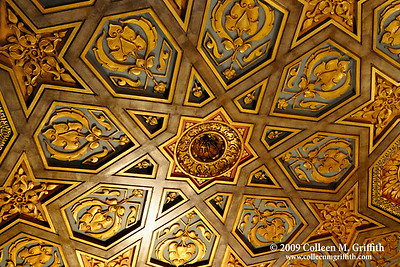 Extravagance  © 2009 Colleen M. Griffith. All Rights Reserved.  This material may not be published, broadcast, modified, or redistributed in any way without written agreement with the creator.  This image is registered with the US Copyright Office. www.colleenmgriffith.com www.facebook.com/colleen.griffith  Ceiling detail at the Hearst Castle, California