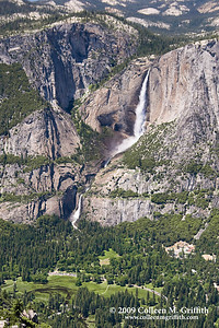 All of Yosemite Falls © 2009 Colleen M. Griffith. All Rights Reserved.  This material may not be published, broadcast, modified, or redistributed in any way without written agreement with the creator.  This image is registered with the US Copyright Office. www.colleenmgriffith.com www.facebook.com/colleen.griffith  You can get an idea of the scale of the falls by comparing the size to the road and cars that you can see in the bottom of this photo.  Yosemite is one of my favorite places in California. Friend me on Facebook
