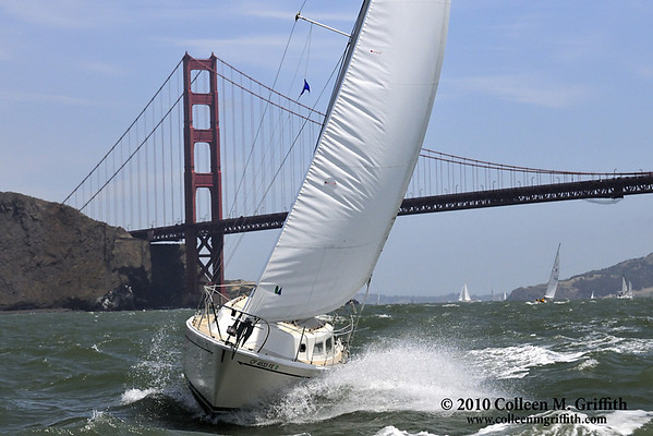 "San Francisco Bay Sailing<br /> ©  2010 Colleen M. Griffith. All Rights Reserved.  This material may not be published, broadcast, modified, or redistributed in any way without written agreement with the creator.  This image is registered with the US Copyright Office.<br />  <a href=""http://www.colleenmgriffith.com"">http://www.colleenmgriffith.com</a><br />  <a href=""http://www.facebook.com/colleen.griffith"">http://www.facebook.com/colleen.griffith</a><br /> <br /> Sailing just outside the Golden Gate Bridge in San Francisco is exhilarating - the changing tides, ocean swells, and windy conditions generally make for some rough conditions."