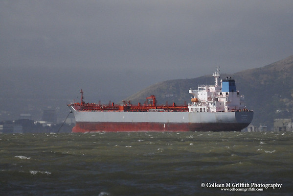 """Anchored in the Bay  © 2010 Colleen M. Griffith. All Rights Reserved.  This material may not be published, broadcast, modified, or redistributed in any way without written agreement with the creator.  This image is registered with the US Copyright Office. Industrial ship at anchor in the San Francisco Bay, CA <a href=""""http://www.facebook.com/colleen.griffith"""">Friend me on Facebook</a>"""