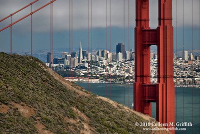 Photogenic San Francisco ©  2010 Colleen M. Griffith. All Rights Reserved.  This material may not be published, broadcast, modified, or redistributed in any way without written agreement with the creator.  This image is registered with the US Copyright Office. www.colleenmgriffith.com www.facebook.com/colleen.griffith  Many tourists flock to the Marin Headlands to photograph the Golden Gate Bridge and San Francisco skyline.  Here you can see a photographer on a hill overlooking this breathtaking cityscape. You can see more of my San Francisco photos, by going to: www.colleenmgriffith.com/Galleries/San-Francisco/San-Francisco