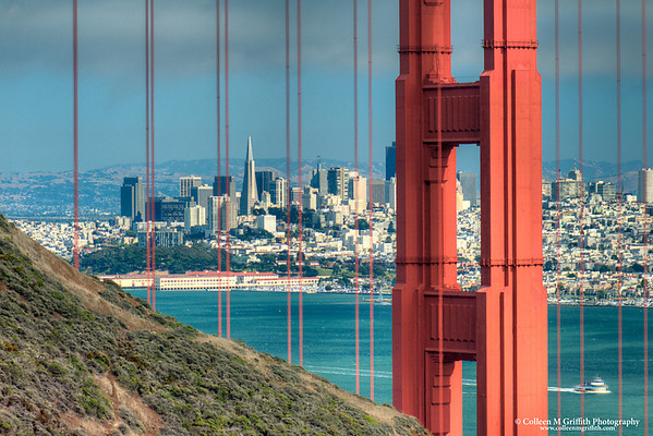 """Dwarfed By The Golden Gate<br /> ©  2010 Colleen M. Griffith. All Rights Reserved.  This material may not be published, broadcast, modified, or redistributed in any way without written agreement with the creator.  This image is registered with the US Copyright Office.<br />  <a href=""""http://www.colleenmgriffith.com"""">http://www.colleenmgriffith.com</a><br />  <a href=""""http://www.facebook.com/colleen.griffith"""">http://www.facebook.com/colleen.griffith</a><br /> <br /> TransAmerica Building framed by the Golden Gate Bridge. You can see more of my San Francisco photos, by going to:  <a href=""""http://www.colleenmgriffith.com/Galleries/San-Francisco/San-Francisco"""">http://www.colleenmgriffith.com/Galleries/San-Francisco/San-Francisco</a>"""