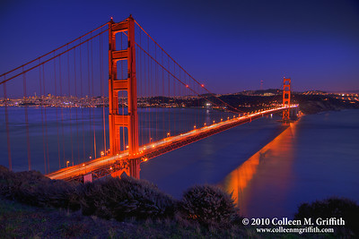Quintessential San Francisco ©  2010 Colleen M. Griffith. All Rights Reserved.  This material may not be published, broadcast, modified, or redistributed in any way without written agreement with the creator.  This image is registered with the US Copyright Office. www.colleenmgriffith.com www.facebook.com/colleen.griffith  Sunset view of Golden Gate Bridge and San Francisco bay.  You can see more of my San Francisco photos, by going to my San Francisco gallery: www.colleenmgriffith.com/Galleries/San-Francisco/San-Francisco