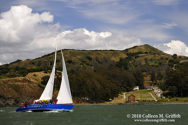"Sailing By Angel Island, San Francisco Bay California<br /> ©  2010 Colleen M. Griffith. All Rights Reserved.  This material may not be published, broadcast, modified, or redistributed in any way without written agreement with the creator.  This image is registered with the US Copyright Office.<br />  <a href=""http://www.colleenmgriffith.com"">http://www.colleenmgriffith.com</a><br />  <a href=""http://www.facebook.com/colleen.griffith"">http://www.facebook.com/colleen.griffith</a>"