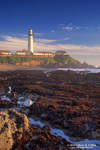 Pigeon Point Lighthouse Tidal Pools ©  2011 Colleen M. Griffith. All Rights Reserved. This material may not be published, broadcast, modified, or redistributed  without written agreement with the creator.  This image is registered with the US Copyright Office. www.colleenmgriffith.com www.facebook.com/colleen.griffith  The Pigeon Point Lighthouse is located along the northern pacific coast, near Half Moon Bay, just south of San Francisco, California.  The epic heavy waves, surf, and windy conditions that day generated a fine mist in the air.  This mist softened the lines of the lighthouse and hostel buildings in the background lending a bit of a dreamy quality to the composition.   You can see more of my California Coast shots via www.colleenmgriffith.com/Galleries/California/California-Coast