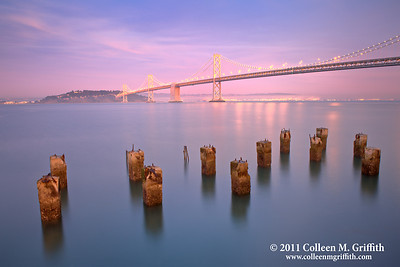 Tranquility ©  2011 Colleen M. Griffith. All Rights Reserved. This material may not be published, broadcast, modified, or redistributed  without written agreement with the creator.  This image is registered with the US Copyright Office. www.colleenmgriffith.com www.facebook.com/colleen.griffith  You can see more of my San Francisco Bay Bridge photos in my panoramics gallery:  www.colleenmgriffith.com/Galleries/San-Francisco/Panoramics