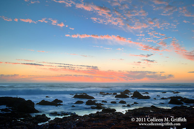 Pastel Ocean Sunset ©  2011 Colleen M. Griffith. All Rights Reserved. This material may not be published, broadcast, modified, or redistributed  without written agreement with the creator.  This image is registered with the US Copyright Office. www.colleenmgriffith.com www.facebook.com/colleen.griffith  Pacific Coast ocean sunset's are some of my favorite photographic material.  I just love the rich and vibrant colors.  This is a second sunset shot I posted to this gallery from my recent pacific coast ocean sunset photo shoot.  Posted 02 February 2011.