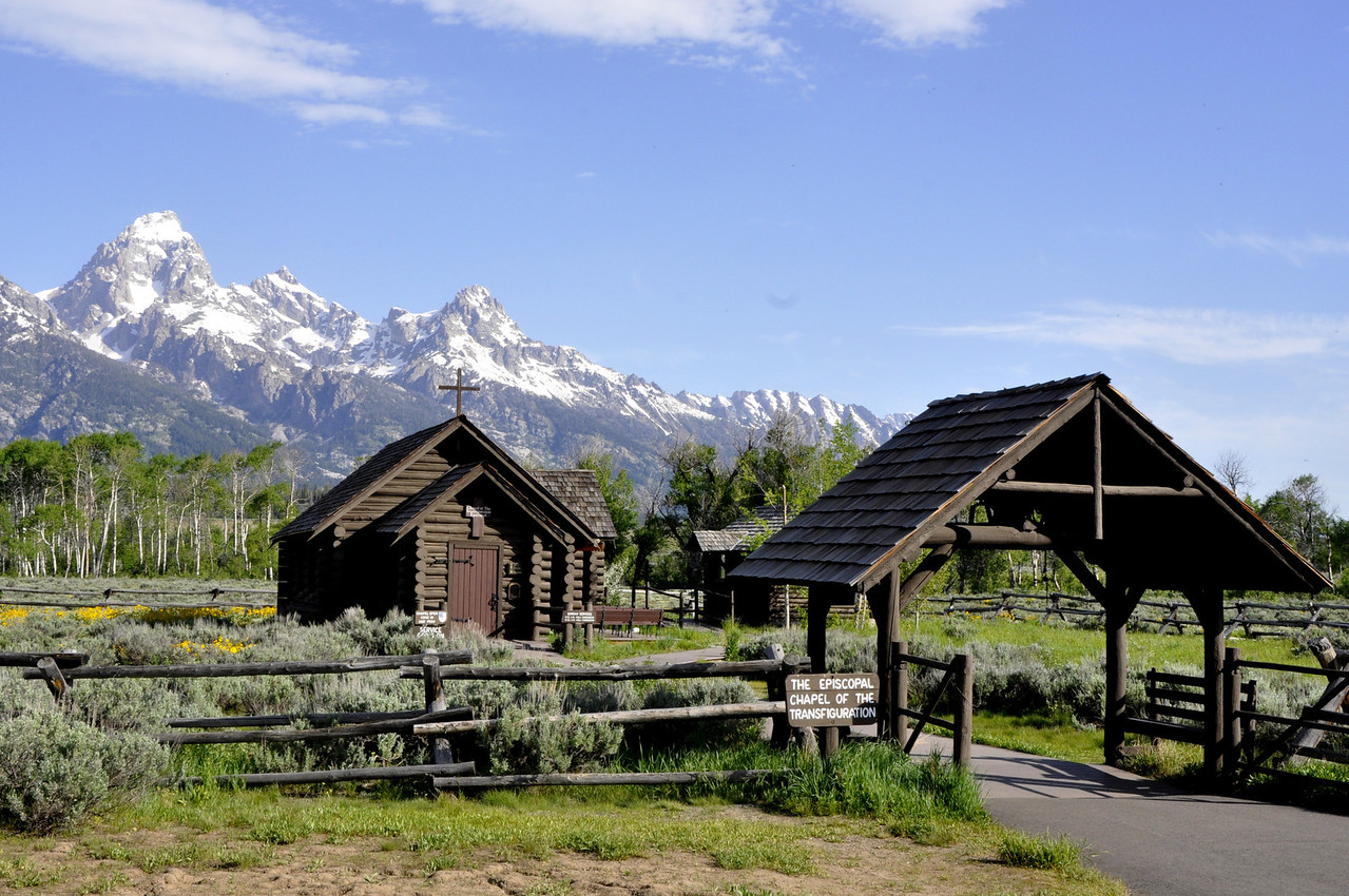 """Chapel of Transfiguration"" in Teton National Park. Jackson, Wy. Overlooked by the Grand Teton Mts."