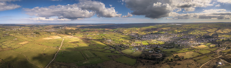 Aerial Panoramic of Lanner village looking down from Carn Marth, Cornwall