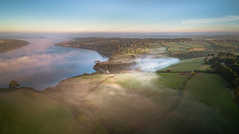 Aerial Panoramic  of the Helford Passage at sunrise, Cornwall 2020