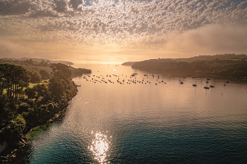 Aerial panoramic of The Helford Passage, sunrise, 2020