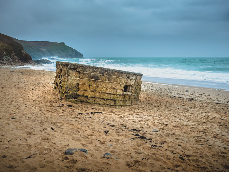 World War 2 Bunker slowly being washed away - Praa Sands on a moody day, Cornwall 2019