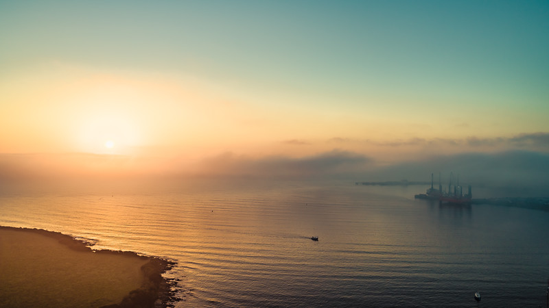 Falmouth Estuary sunrise in the morning mist..