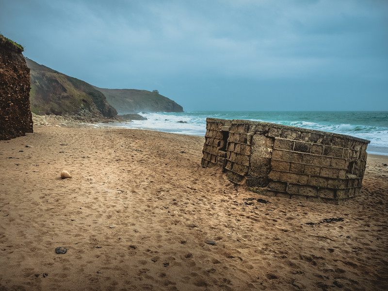 World War 2 Bunker slowly being washed away - Praa Sands on a moody day...