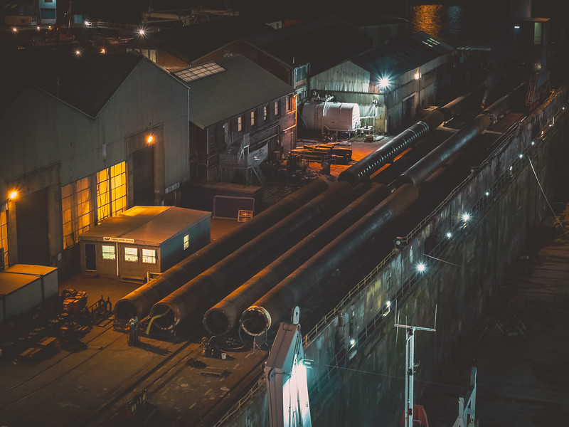 Some night shots of work operations at Falmouth Docks. The docks are situated at the southern shore of the Fal Estuary which is the third largest natural harbour in the world and the deepest in Europe. Cornwall 2019