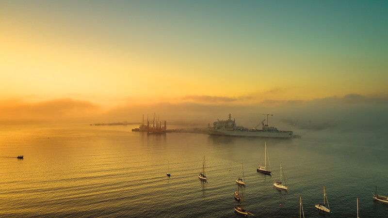 Falmouth Estuary in the  morning  mist, Cornwall 2018