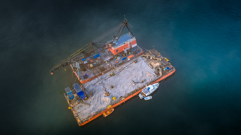 Falmouth Estuary Dredging boat from above, Cornwall, 2018