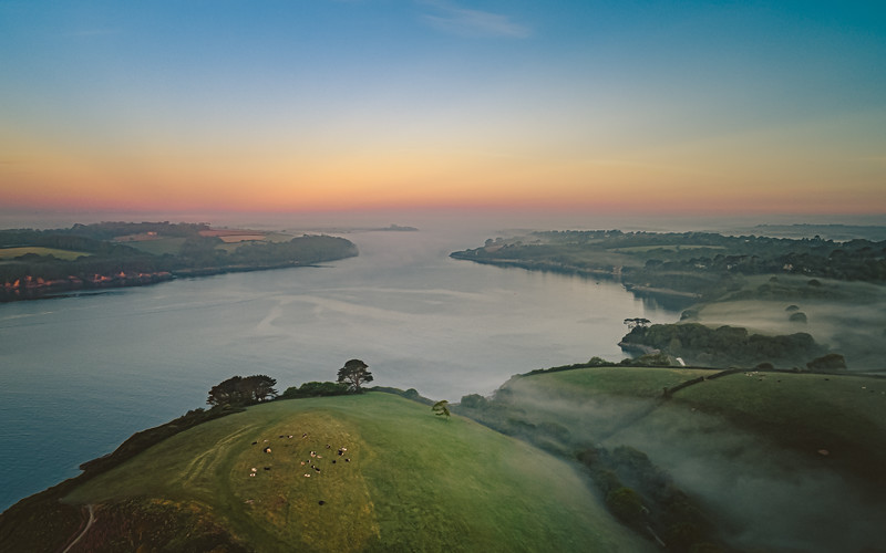 Helford Passage, Aerial Panoramic, Cornwall 2020