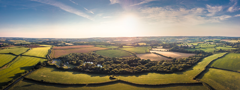 An aerial panoramic made up of ten images stitched together in Adobe Lightroom - this was part of a photo shoot I did for an article in Cornwall Living magazine for the luxury glamping company, Trecombe Lakes.