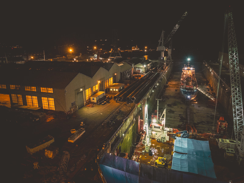 Some night shots of work operations at Falmouth Docks. The docks are situated at the southern shore of the Fal Estuary which is the third largest natural harbour in the world and the deepest in Europe.