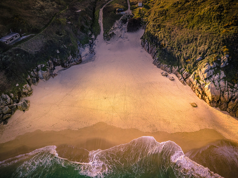 Beautiful Porthcurno each from above, Cornwall, 2018